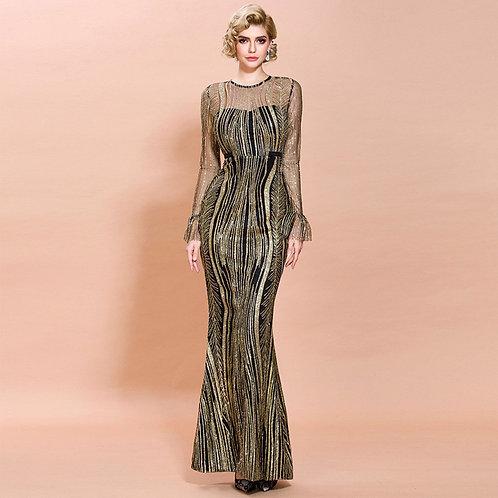 Scoop Neck Floor Length Long Sleeves Sequins Evening  Gown