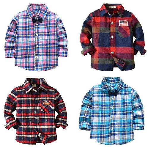 Long Sleeve Boy's Shirts Casual Turn-Down Collar