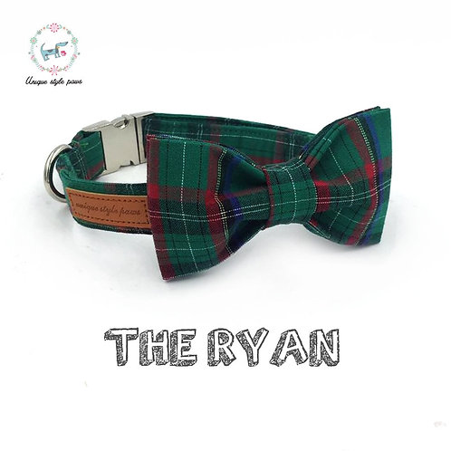 Dark Green Plaid Pet Collar With Bow Tie  And Leash