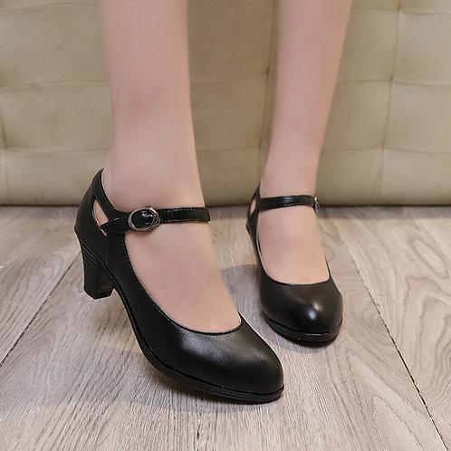 Solid Round Toe Square Heel Classic Buckle Heel