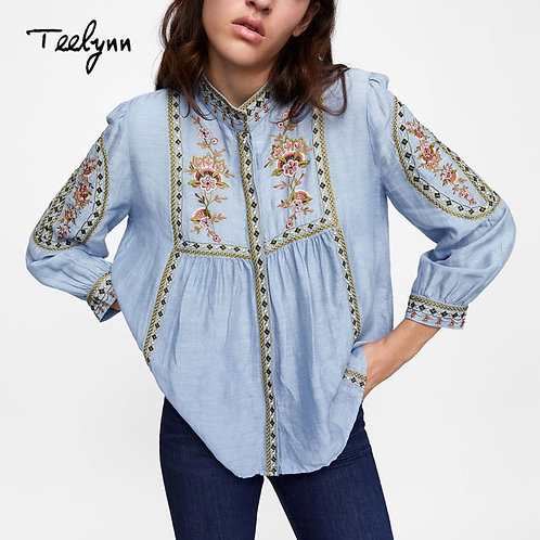 Boho Floral Embroidered  Top