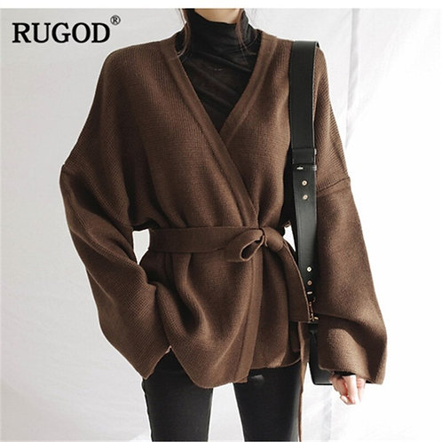 Long Sleeve Women Cardigans Casual Knitted With Belt