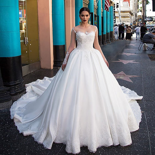Gorgeous Satin Long Sleeve Button Up Wedding/Ball Gown With Appliques & Beading