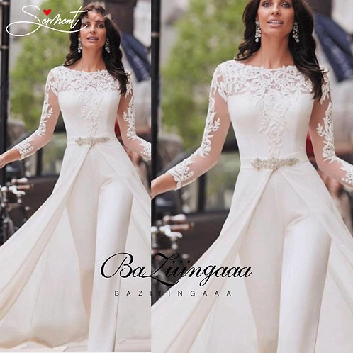Wedding Jumpsuit With Long Sleeves