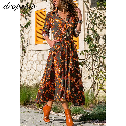 Floral Print Mid-Calf  Wrap Dress - up to 3XL