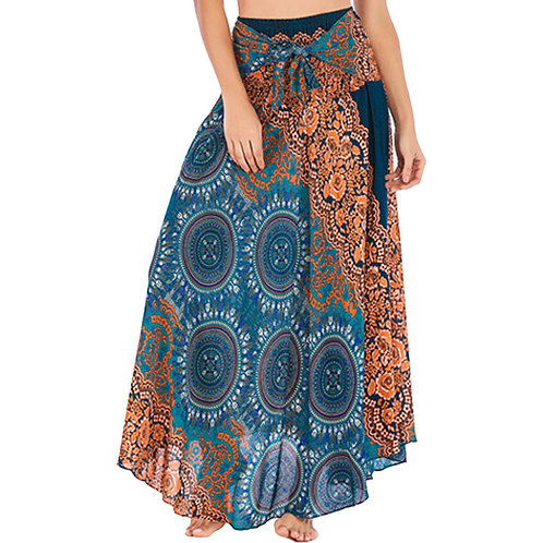 Long Hippie Bohemian Gypsy Floral Halter Skirt