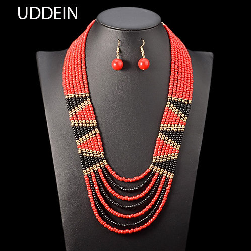 Bohemian Multi Layer Necklace & Earrings Set