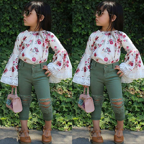 Floral Dress Top & Denim Pants - 2 to 5yrs