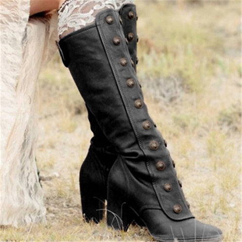 Retro Rivets Side Zip Over the Knee Boots