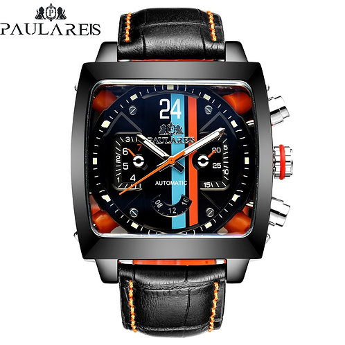 Automatic Self Wind Mechanical Genuine Leather Stainless