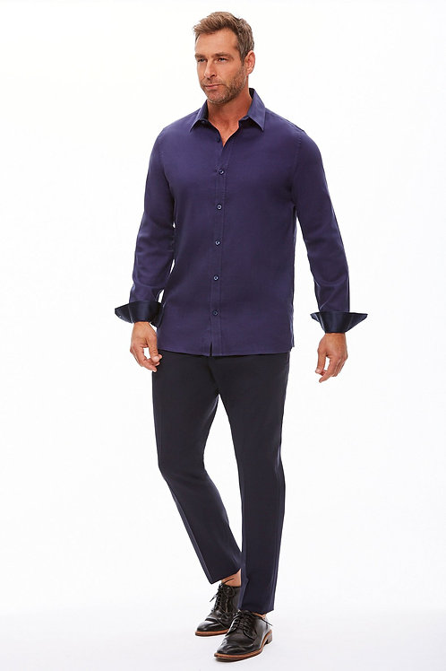 The Trotter Button Up  | Semi-Fitted | Rhythm in Blue (CLEARANCE)