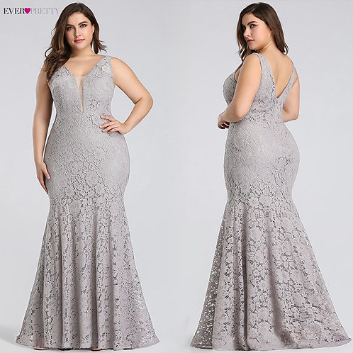 Elegant Mermaid Lace Sleeveless V-Neck Long  Gown