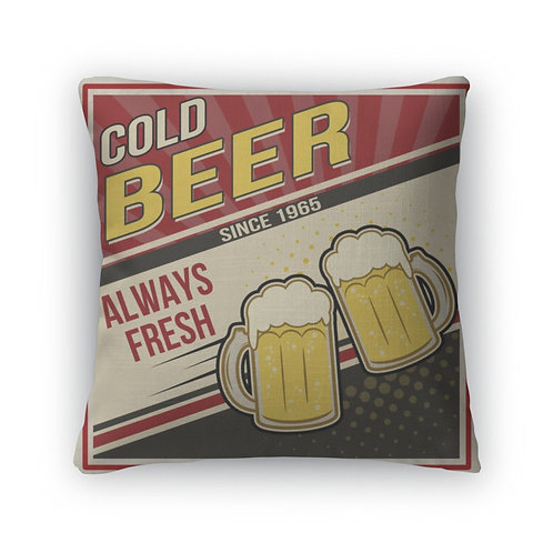 Throw Pillow, Retro Beer Poster