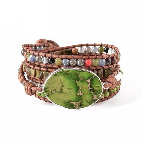 Leather Wrap Beaded Natural Stone Boho Bracelet