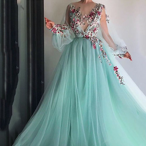 Long Sleeves Embroidery & Beading Evening  Gown