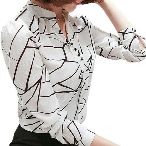 Chiffon Print Long Sleeve Blouse
