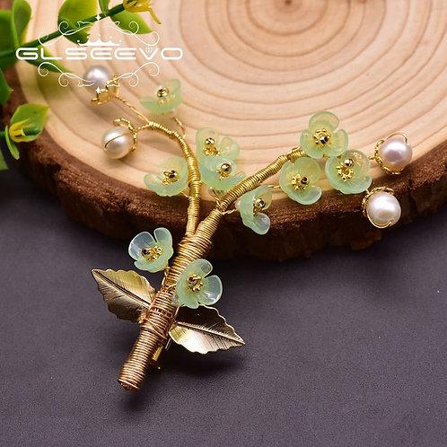 Handmade Natural Pearl Resin Tree Brooch