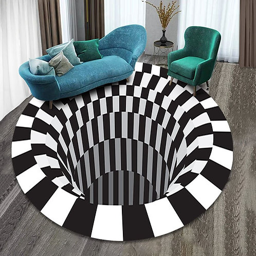 3D Vortex Black White Grid Bottomless Hole Illusion Anti-slip Rug