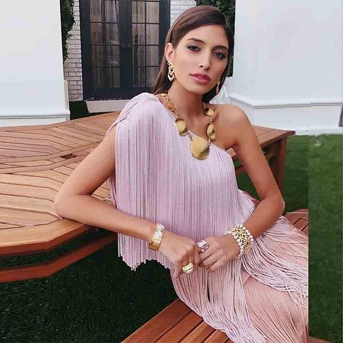 Pink Tassel One Shoulder Bodycon Dress