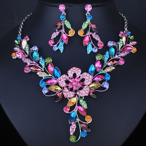 Flower Vine Necklace and Earrings Set