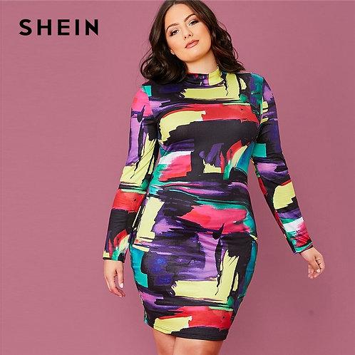 Plus Size Multicolor Mock Neck Colorblock Bodycon Dress
