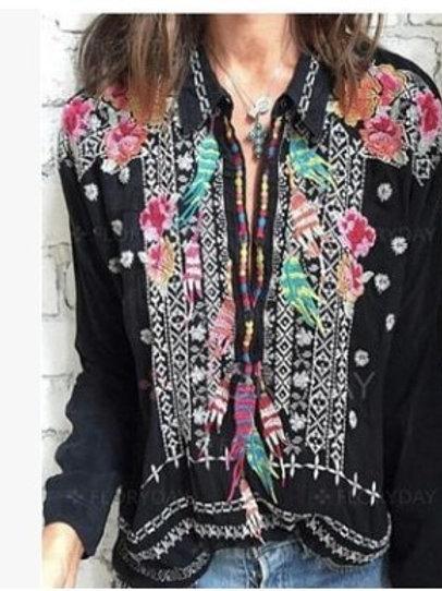 TEELYNN Black Floral Embroidered Vintage Boho  Blouse