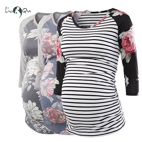 3pcs Side Ruched Printed Maternity Top