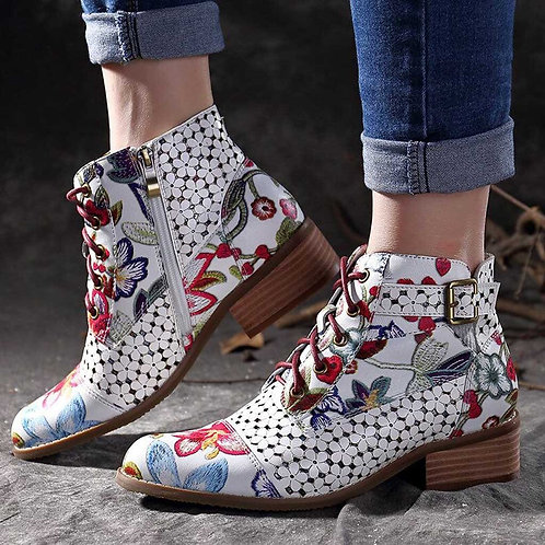 Retro Bohemian Printed Ankle Boots