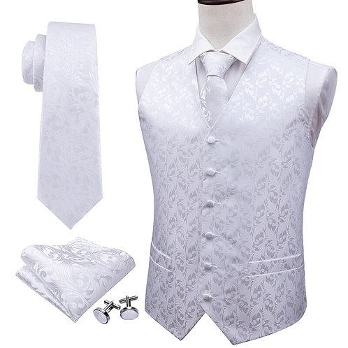 Solid White Silk Vest Paisley Waistcoat  Set - Tie, Cufflinks & Pocket Square