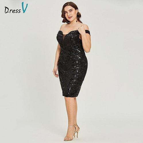 Black Cocktail Dress Sleeveless Off the Shoulder