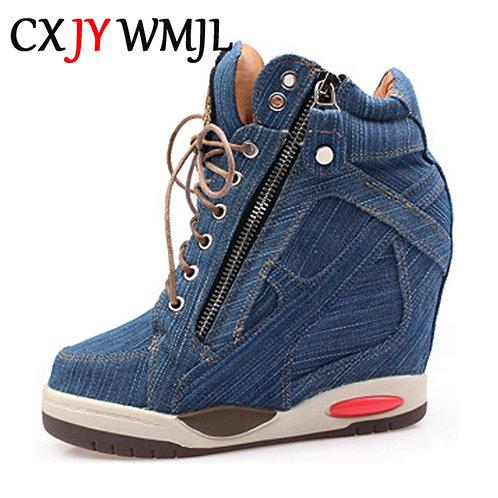 Denim Wedges Platform  Sneakers