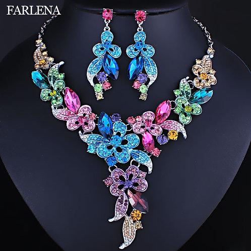 Crystal Rhinestones Flower Necklace & Earrings Set