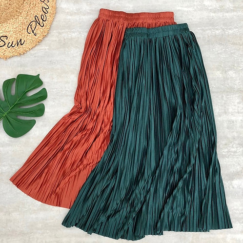Women Pleated Midi Metallic Color Long Skirts