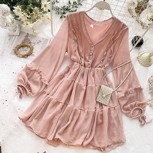 Empire Waist w/ Lantern Sleeves & Ruffles Casual Dress