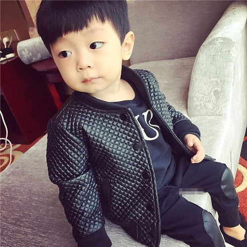 Toddler & Kids  Outerwear PU Leather Coat in Black