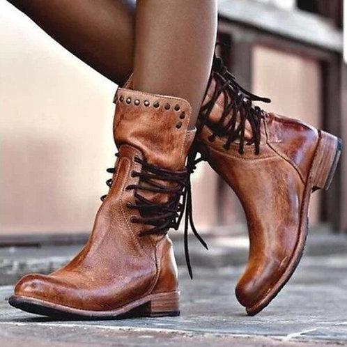 Retro Vegan Leather Non-Slip Round Toe Lace-Up Martin Boots