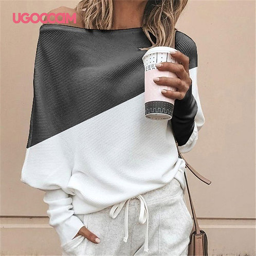 Asymmetrical Long Sleeve Blouse - up to 5XL