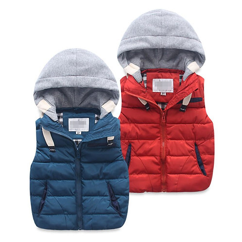 Cotton-Padded Warm Vest with Hood