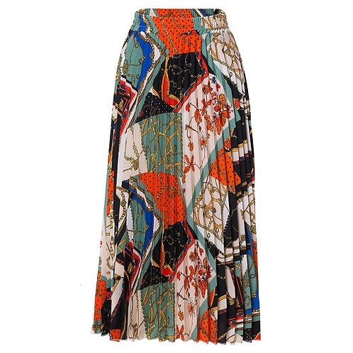 High Waist Pleated  Long Skirt