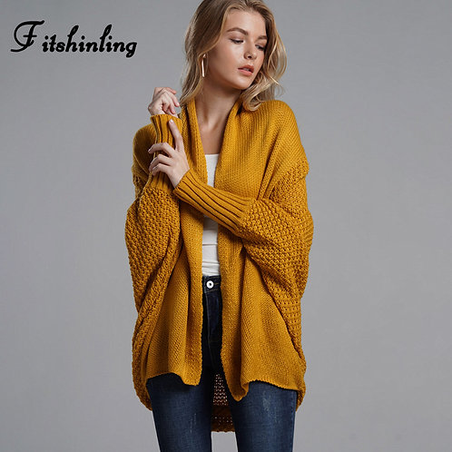 Oversized Sweater Cardigan with Batwing Sleeves