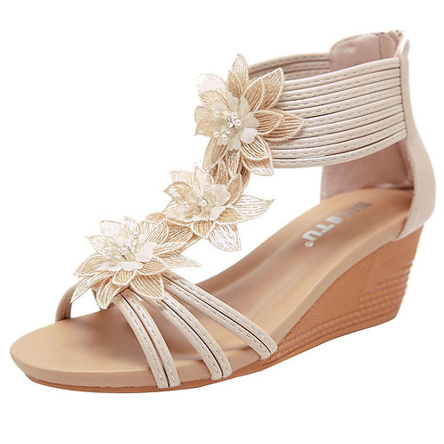 Roman Style Flower Wedge Shoes
