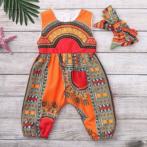 Toddler Girl  African Print Sleeveless Romper