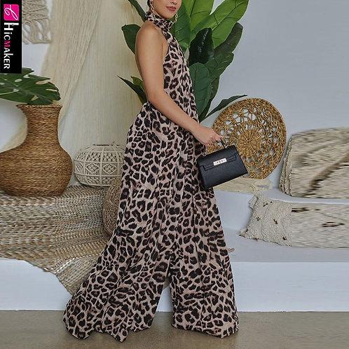 Leopard Printed Halter Backless Wide Leg Jumpsuit