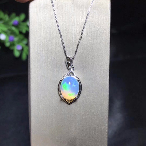 Natural Opal Necklace, Australian Mining Area, Color Changing  925 Silver