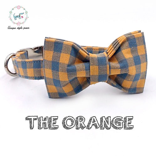 Dog Collar Bow Tie Orange and Blue Plaid Cotton Adjustable Collar With Leash