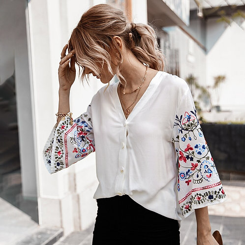 Flare Sleeve Cotton  Embroidery Solid Short Sleeve V-Neck Shirt