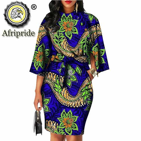 Bazin Riche Ankara Print Pure Cotton  Wax Dress