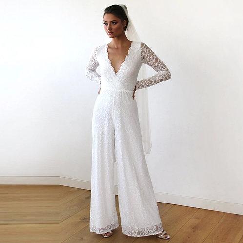 Ivory Long Sleeves Wedding Lace Jumpsuit