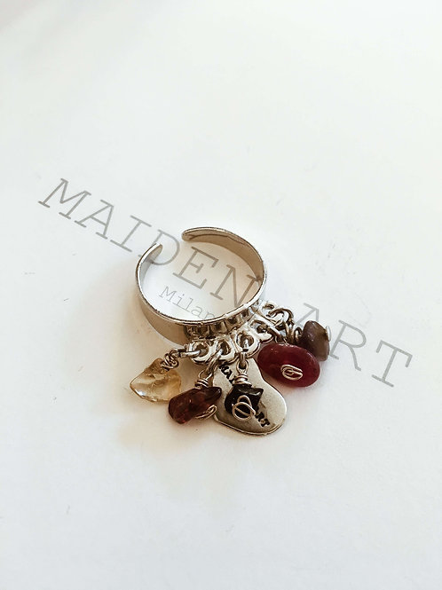 Silver Boho Ring With Stones.