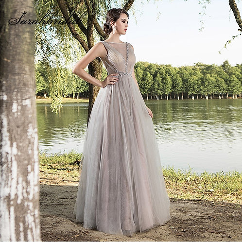 Elegant Women Tulle Gray Ball Gown with  Beading